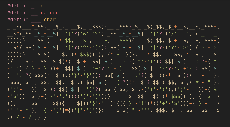 Non-alphanumeric C code - a lab notebook